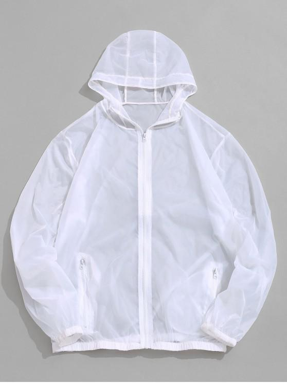 lady Solid Color See-through Hooded Anti Sun Jacket - WHITE M