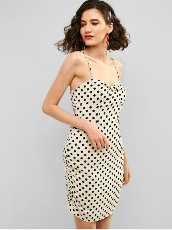 hot ZAFUL Polka Dot Cami Cross Back Mini Dress - WARM WHITE S