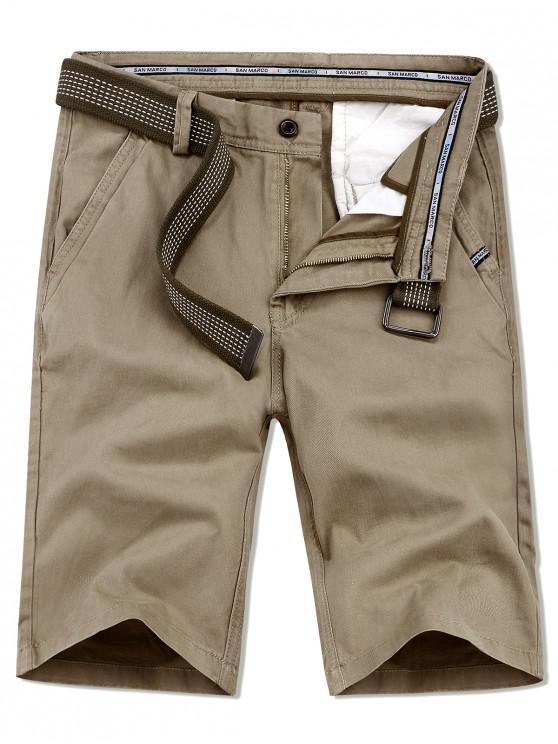 women's Applique Solid Color Casual Shorts - PEACH 36