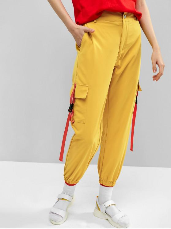 shops ZAFUL Side Pockets with Buckle Cargo Pants - YELLOW L