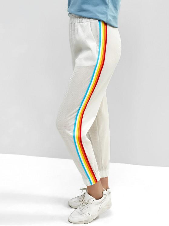sale Colorful Striped Tape Glitter Jogger Pants - WHITE S