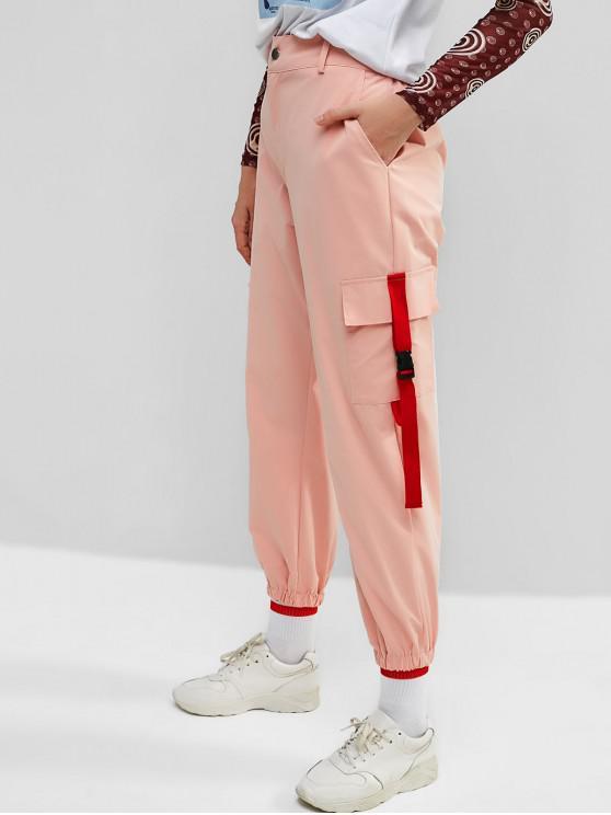 ladies ZAFUL Buckle Pockets Zipper Fly Cargo Pants - PINK S