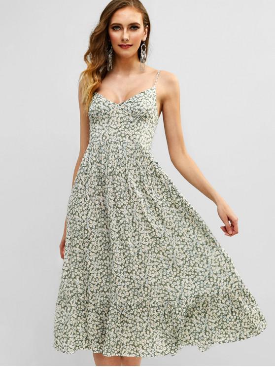 lady ZAFUL Shirred Tiny Floral Cami Dress - MULTI M