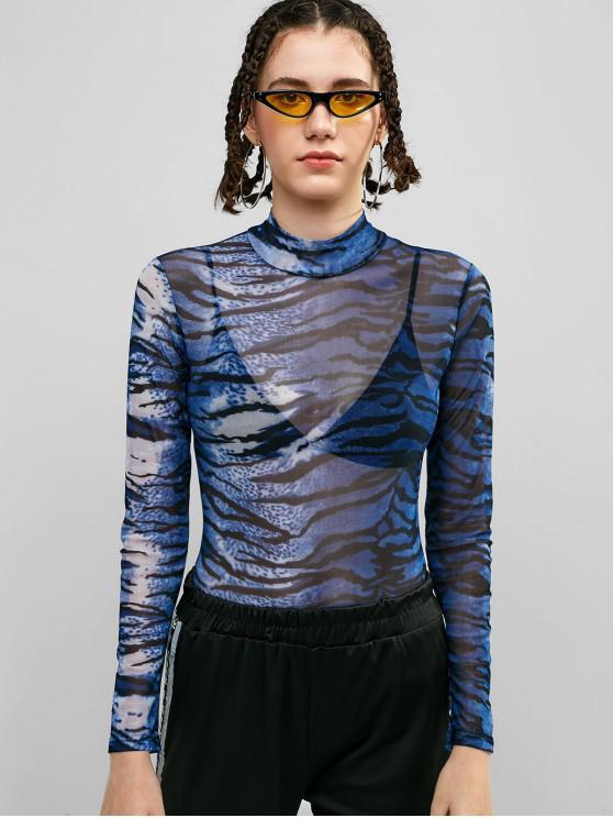 shops Mesh Sheer Zebra Print Bodysuit - MULTI M
