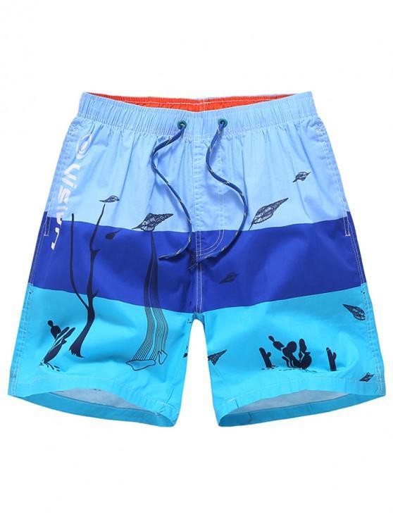 Pantalones cortos de playa con estampado de letras - Cielo Azul Oscuro M