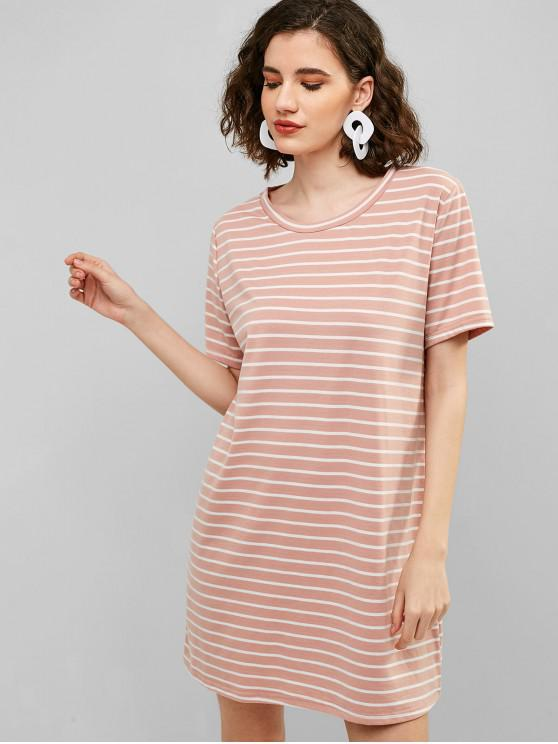 hot ZAFUL Casual Stripes Tee Dress - PIG PINK S