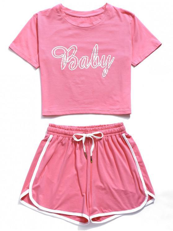 ZAFUL Baby Graphic Ringer Shorts Set - Rosa S
