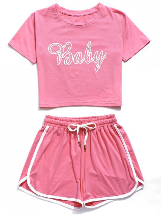 ZAFUL Baby Graphic Ringer Shorts Set - Rosa L