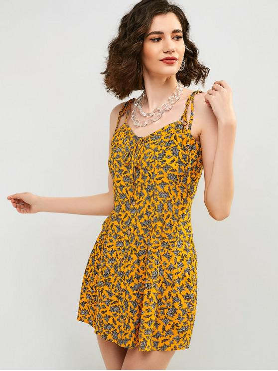 shop ZAFUL Tie Shoulder Floral Mini Cami Dress - BEE YELLOW S
