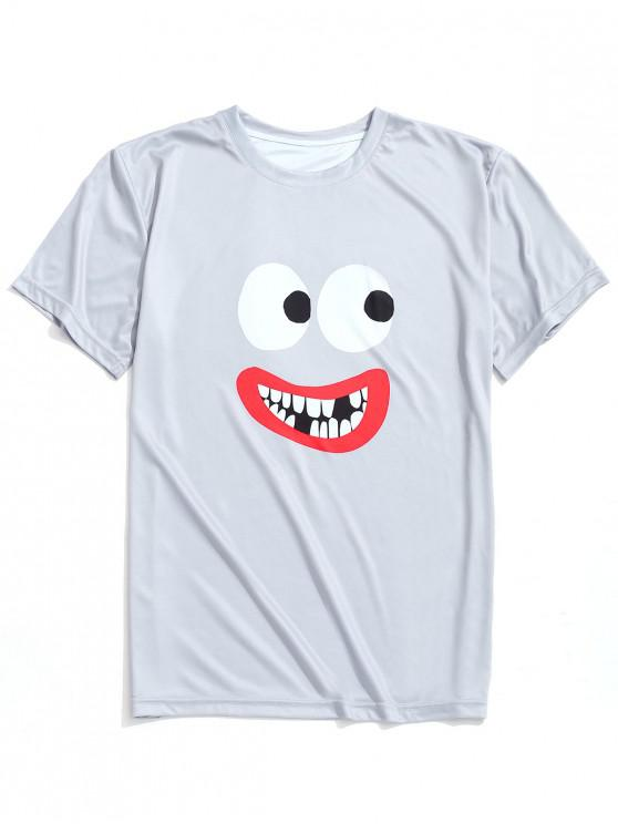 best Lip and Eyes Print Casual T-shirt - GRAY CLOUD S