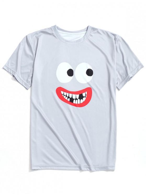 Camiseta casual con estampado de labios y ojos - Nube Gris M
