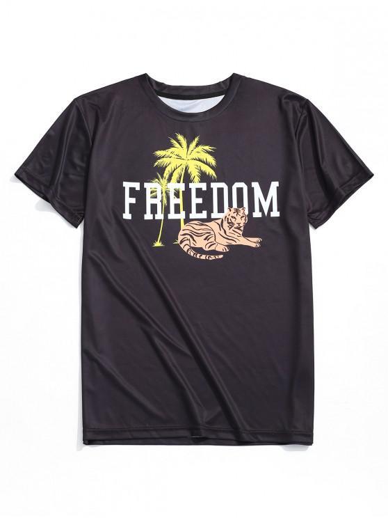 T-shirt Casual Imprimé Lettres Palmier - Tigre - Noir XL