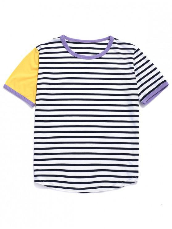 hot ZAFUL Striped Ringer T-shirt - MULTI-A M