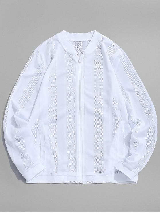 womens Solid Color Mesh Anti Sun Jacket - WHITE M