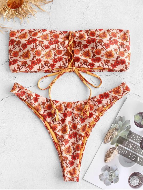 latest ZAFUL Reversible Lace Up Bohemian Floral Bikini Set - SANDY BROWN L