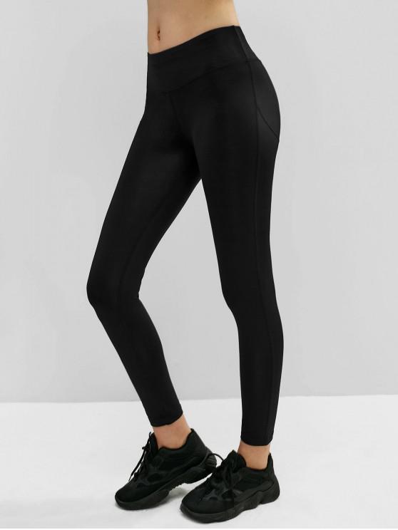 fashion Mid Rise Wide Waistband Yoga Leggings - BLACK M
