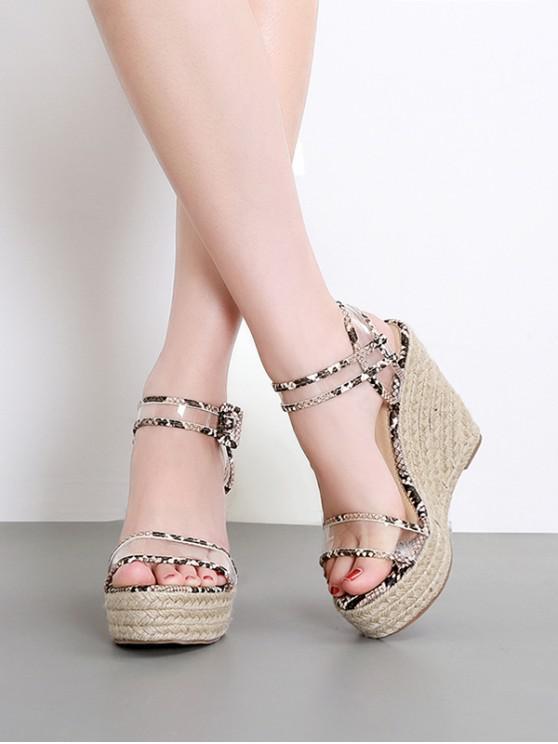 sale Snake PVC High Heel Wedge Sandals - BLACK EU 36