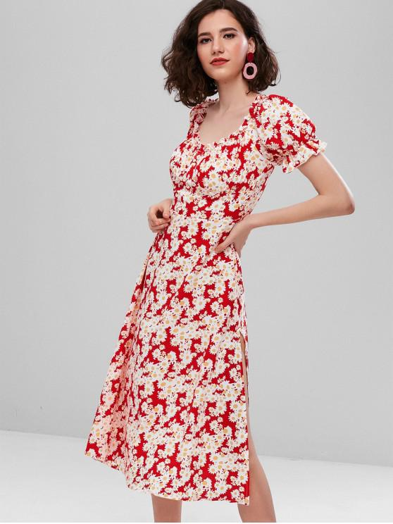 womens ZAFUL Floral A Line Slit Swing Dress - WARM WHITE S