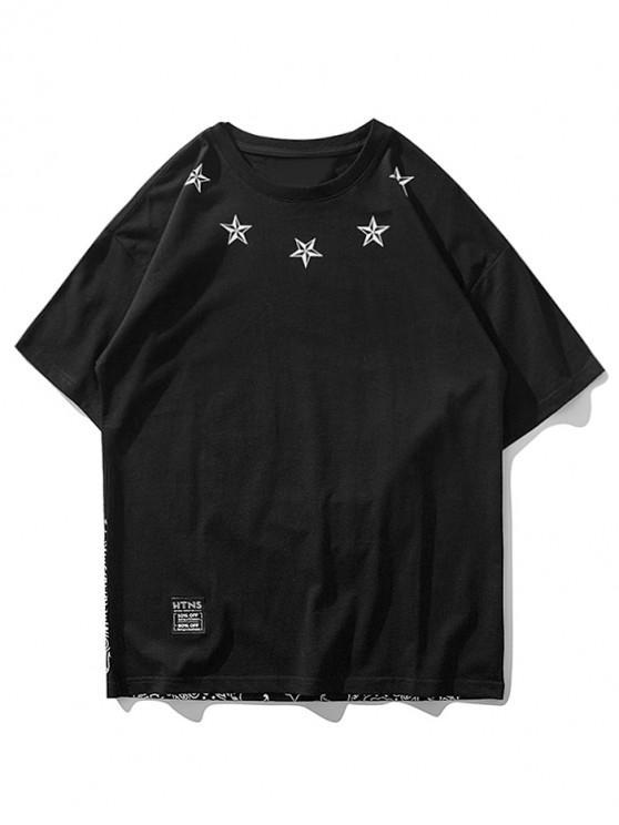 Camiseta de manga corta con estampado de flores de Paisley - Negro M