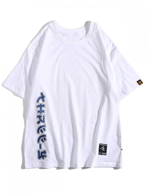 womens Sea Wave Painting Letter Print Casual T-shirt - WHITE 2XL