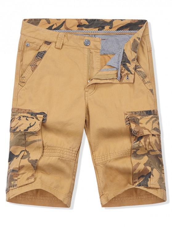 Pantalones cortos de carga con estampado de camuflaje y cremallera. - Vara de Oro 38
