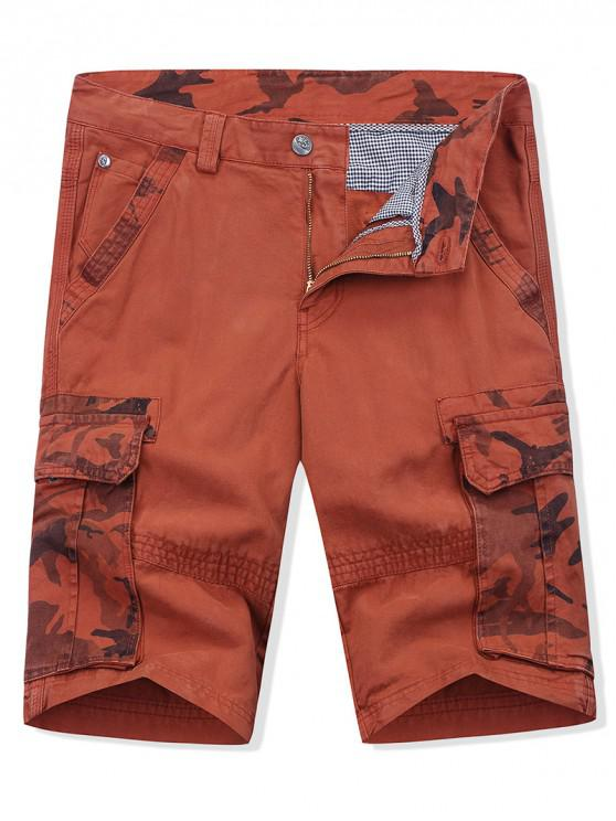 sale Camouflage Printed Zipper Fly Cargo Shorts - CHERRY RED 38