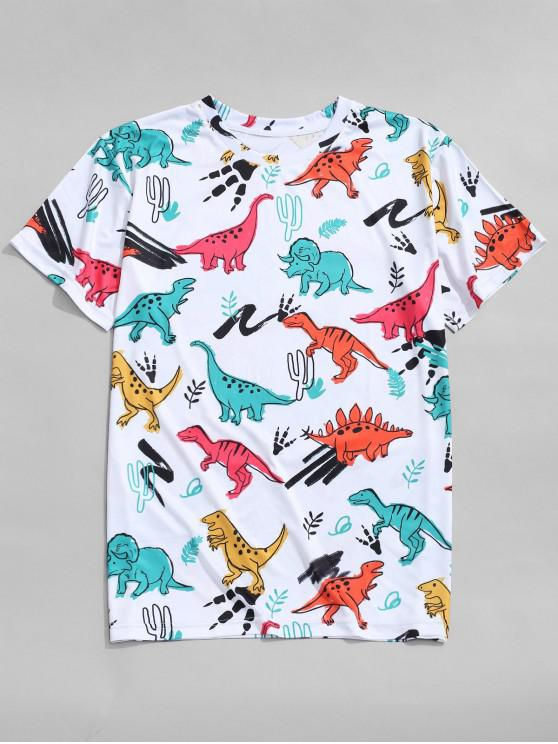 shop Dinosaur Printed Short Sleeves T-shirt - MULTI L