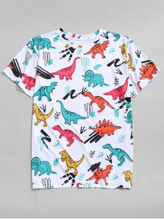 shops Dinosaur Printed Short Sleeves T-shirt - MULTI XL