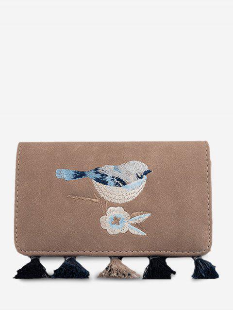 affordable Bird Embroidered Tassel Flap Crossbody Bag - KHAKI  Mobile