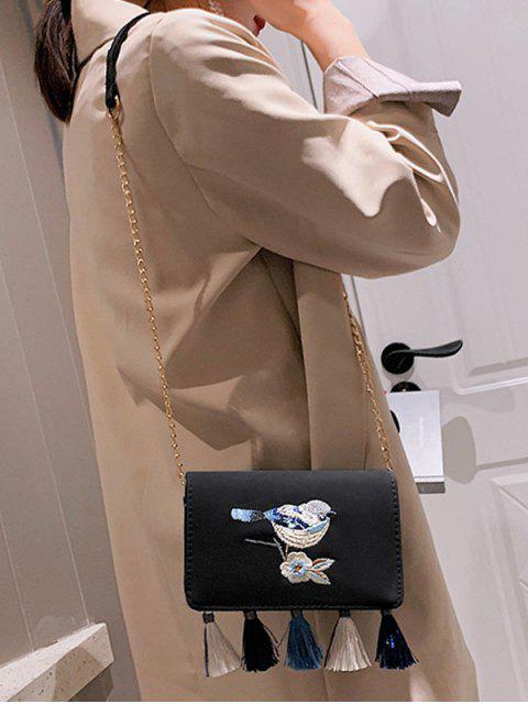 sale Bird Embroidered Tassel Flap Crossbody Bag - BLACK  Mobile