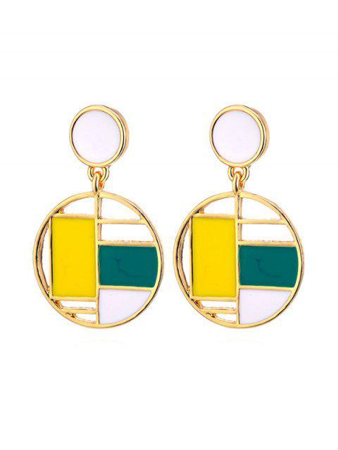 ladies Color Block Round Drop Earrings - MULTI-A  Mobile