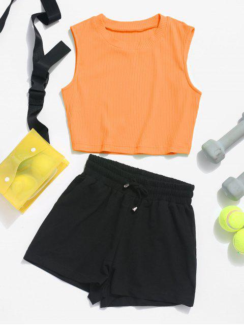 ZAFUL Ribbed Crop Top and Drawstring Shorts Set - Mango Naranja L Mobile