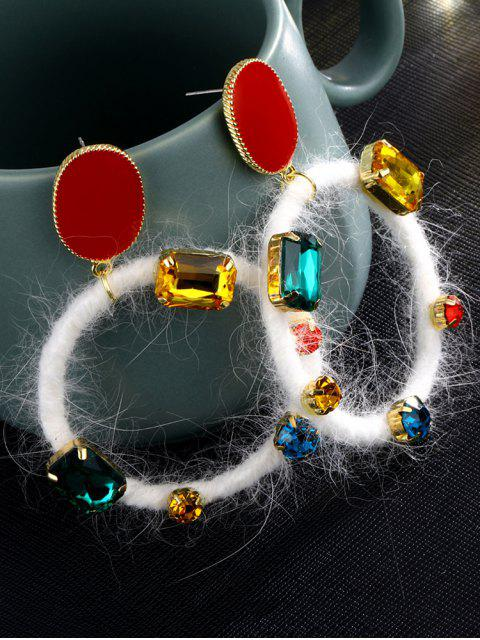 womens Faux Gem Circle Drop Earrings - MULTI  Mobile