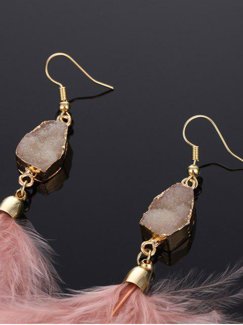 lady Faux Gem Feather Hook Earrings - PIG PINK  Mobile