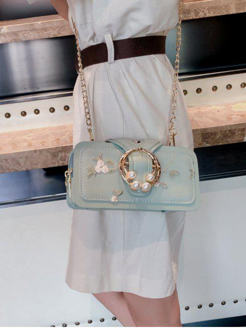 women's Summer Embroidered Chain Shoulder Bag - MINT GREEN  Mobile