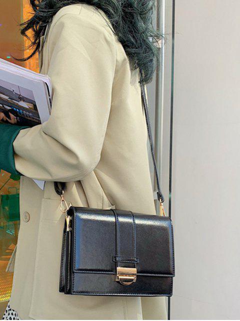shop Square Simple Hasp Shoulder Bag - BLACK  Mobile