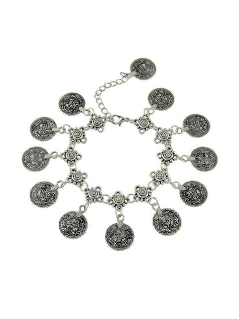 trendy Retro Hollow Coin Charm Anklet - SILVER  Mobile