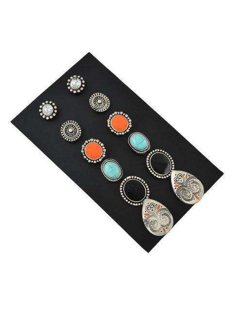 unique 6Pairs Turquoise Stud Earrings Set - ACU CAMOUFLAGE  Mobile