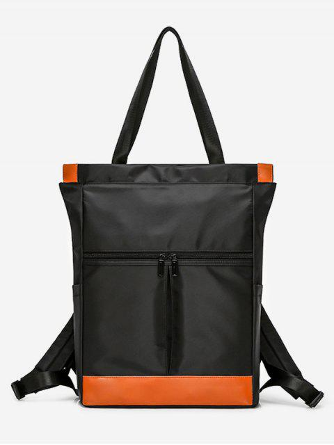 sale Chic Nylon Big Square Pockets Tote - BLACK  Mobile