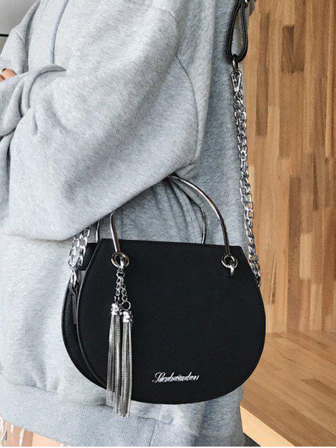 affordable Saddle Shape Ins Style Chain Shoulder Bag - BLACK  Mobile