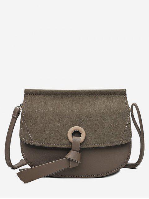trendy Saddle Shape Matte Crossbody Shoulder Bag - DARK KHAKI  Mobile