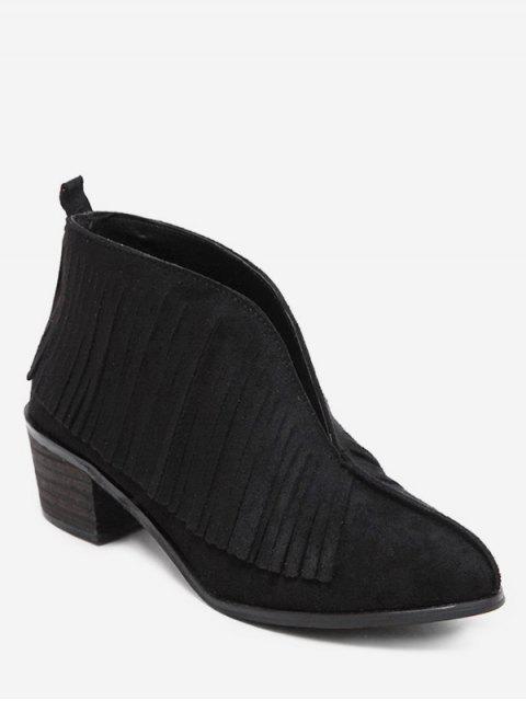 fashion V Cut Fringed Chunky Heel Ankle Boots - BLACK EU 39 Mobile
