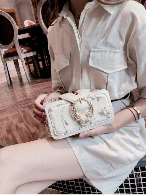 fancy Summer Embroidered Chain Shoulder Bag - WHITE  Mobile