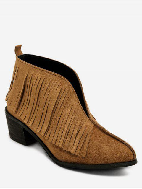 affordable V Cut Fringed Chunky Heel Ankle Boots - LIGHT BROWN EU 36 Mobile