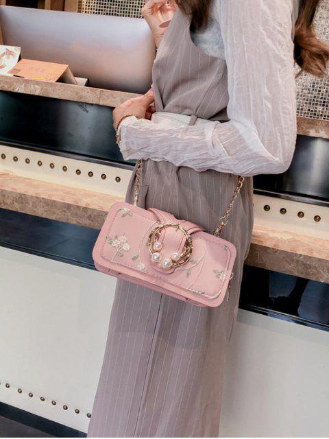 hot Summer Embroidered Chain Shoulder Bag - PINK  Mobile