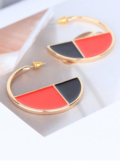 women's Semicircle Color Block Earrings - MULTI  Mobile