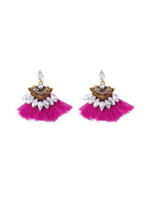 latest Hollow Faux Gem Tassel Earrings - ROSE RED  Mobile