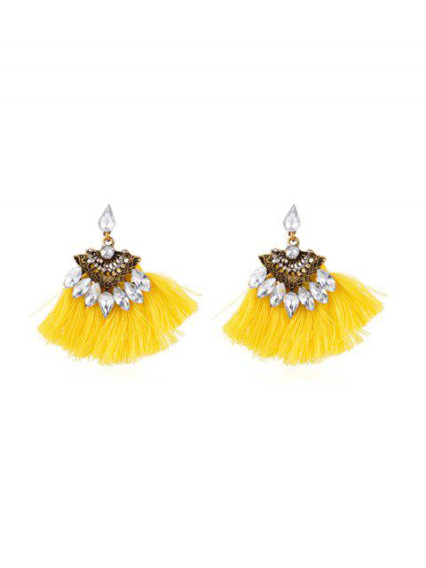 outfit Hollow Faux Gem Tassel Earrings - YELLOW  Mobile