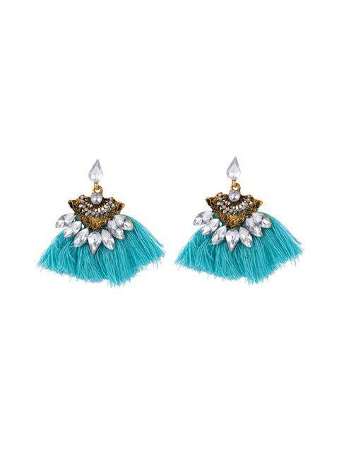 best Hollow Faux Gem Tassel Earrings - TRON BLUE  Mobile