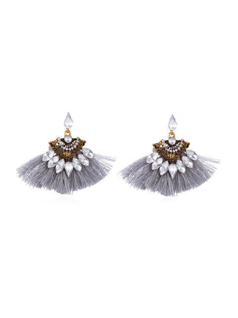 fashion Hollow Faux Gem Tassel Earrings - GRAY  Mobile